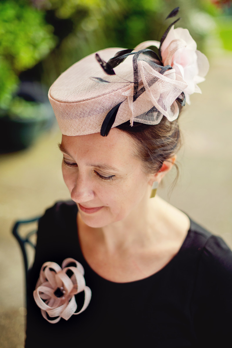 soft pink pillbox hat