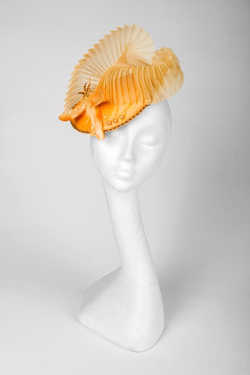 coral fascinator hat