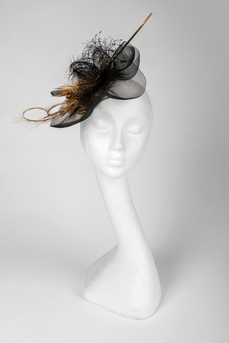 classic fascinator with feathers