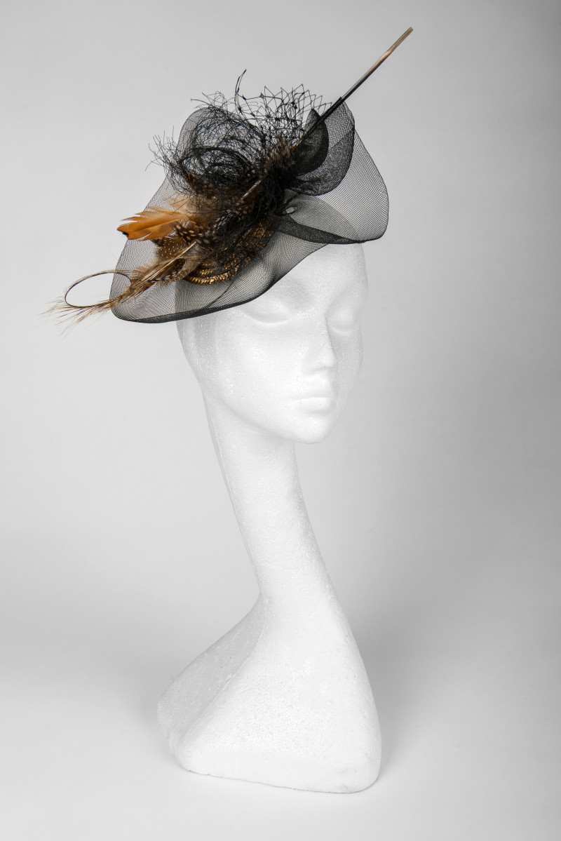 black and tan fascinator hat