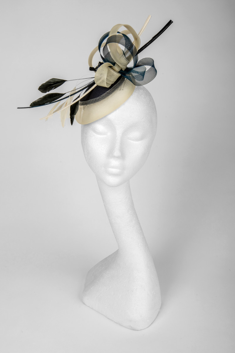 classic cream and navy fascinator