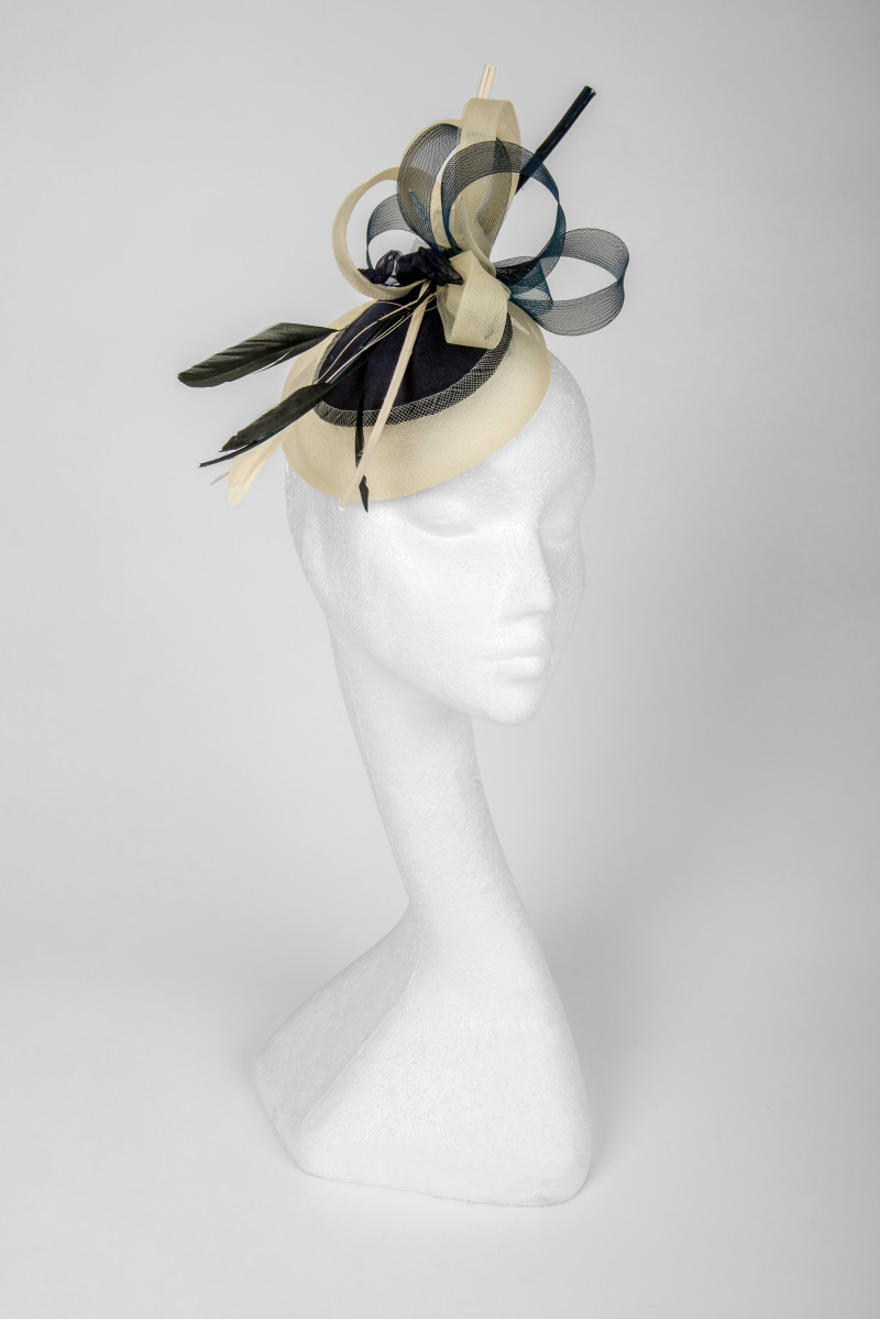 Elegant navy and ivory fascinator