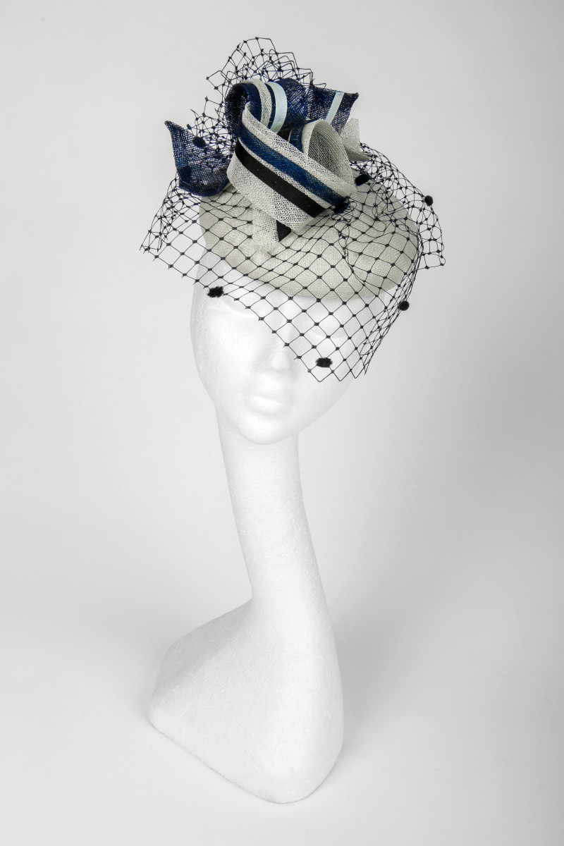 navy and mint pillbox with veil