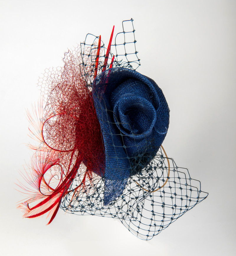 navy and red fascinator