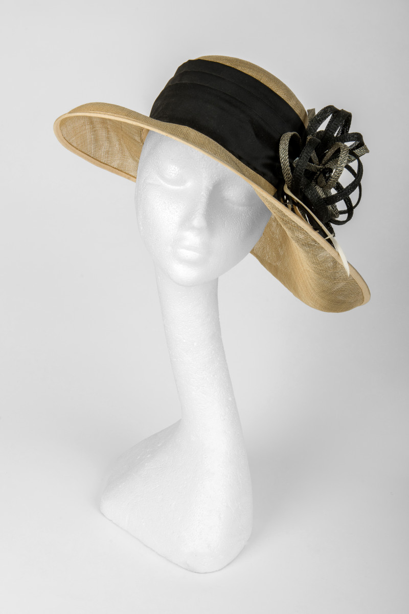 deep crown brimmed hat
