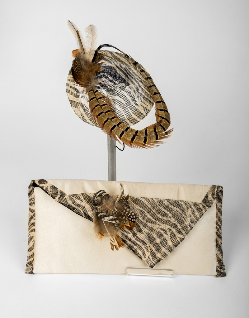 matching fascinator and clutch bag